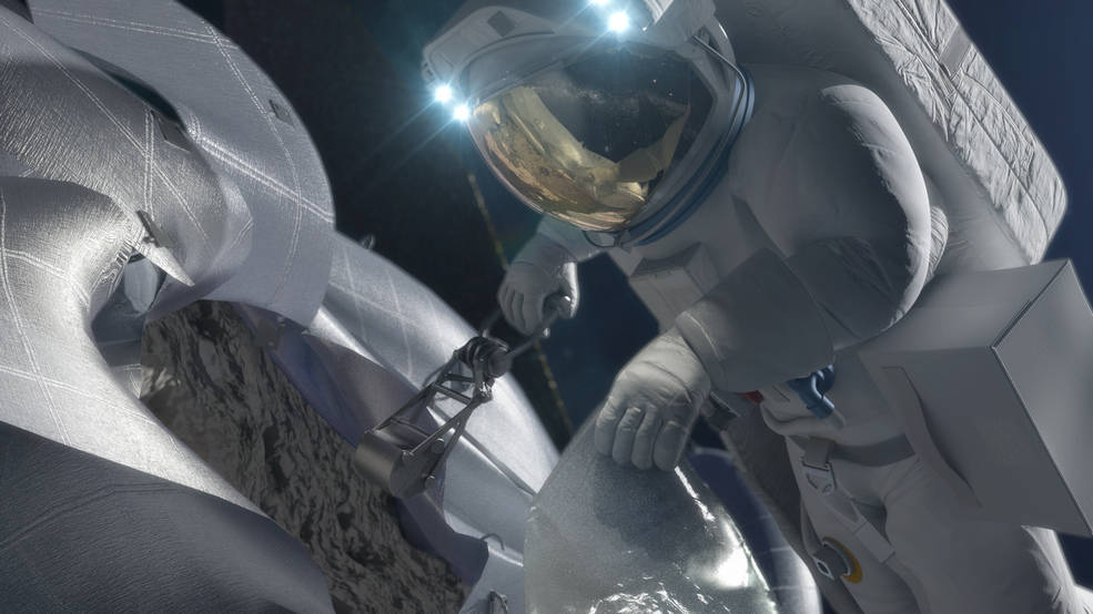 Astronaut Taking Sample from Asteroid