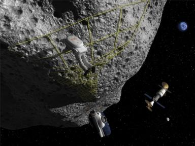 Graphic showing an astronaut visiting an asteroid